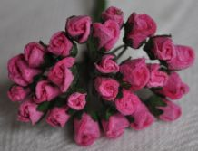4mm DEEP PINK ROSE BUDS Mulberry Paper Flowers